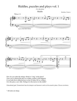 Riddles Puzzles and plays for solo piano vol. 1
